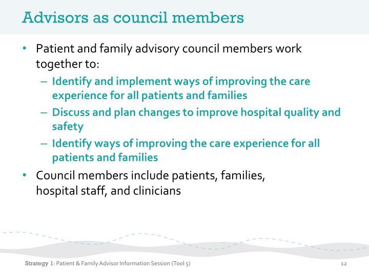 Advisors as council members