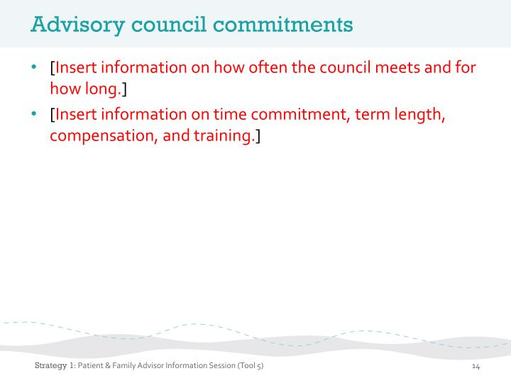 Advisory council commitments