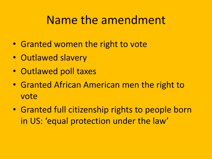 Name the amendment