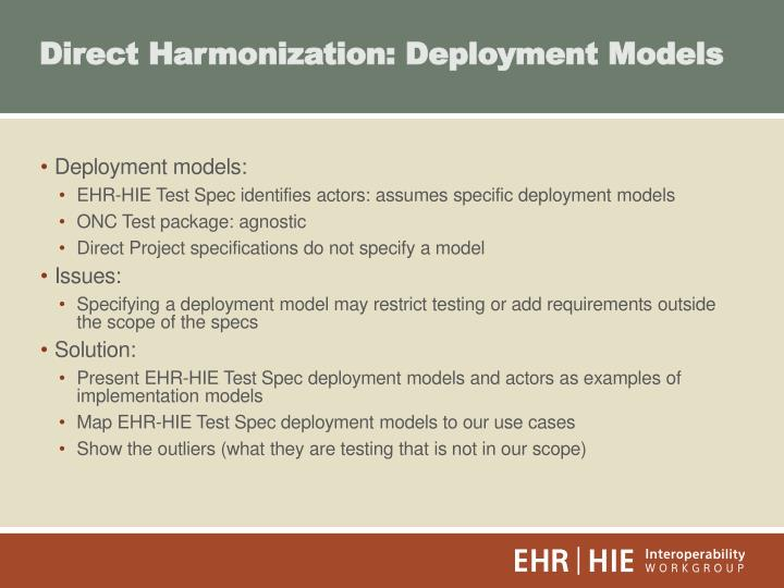 Direct Harmonization: Deployment Models