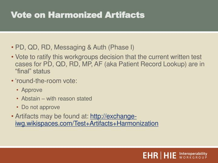 Vote on Harmonized Artifacts