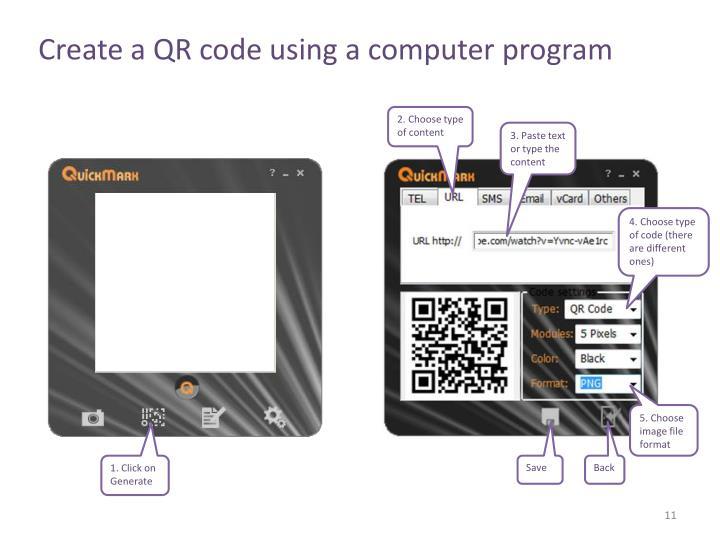 Create a QR code using a computer program