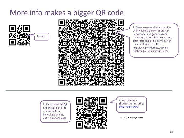 More info makes a bigger QR code