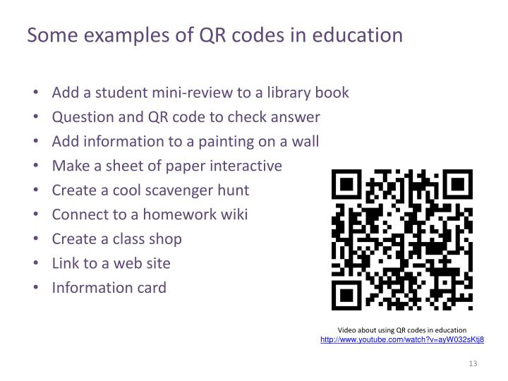 Some examples of QR codes in education