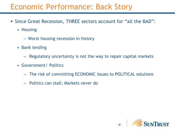 Economic Performance: Back Story