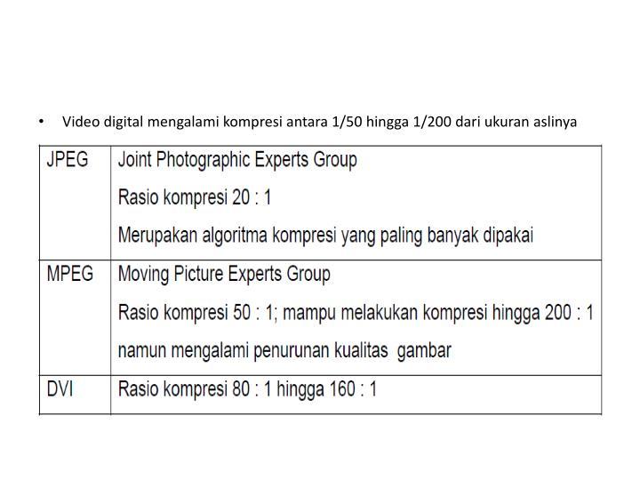 Video digital mengalami kompresi antara 1/50 hingga 1/200 dari ukuran aslinya