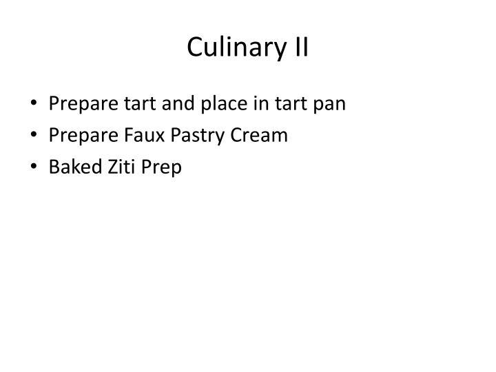 Culinary II