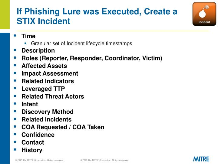If Phishing Lure was Executed, Create a STIX Incident
