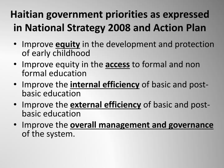 Haitian government priorities as expressed in National Strategy