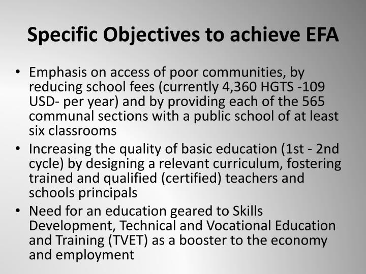 Specific Objectives to achieve EFA