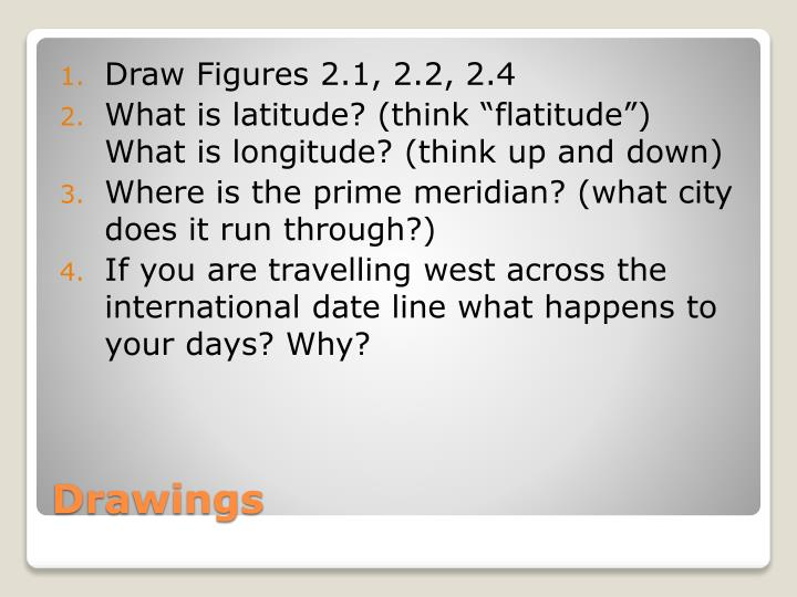 Draw Figures 2.1, 2.2, 2.4