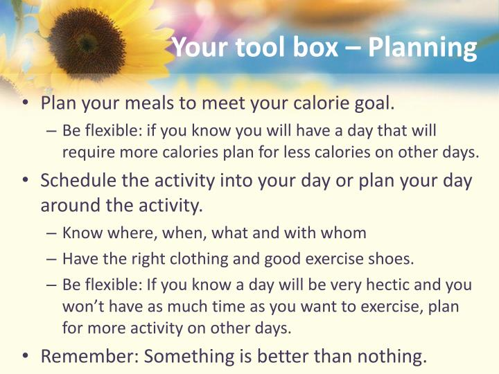 Your tool box – Planning