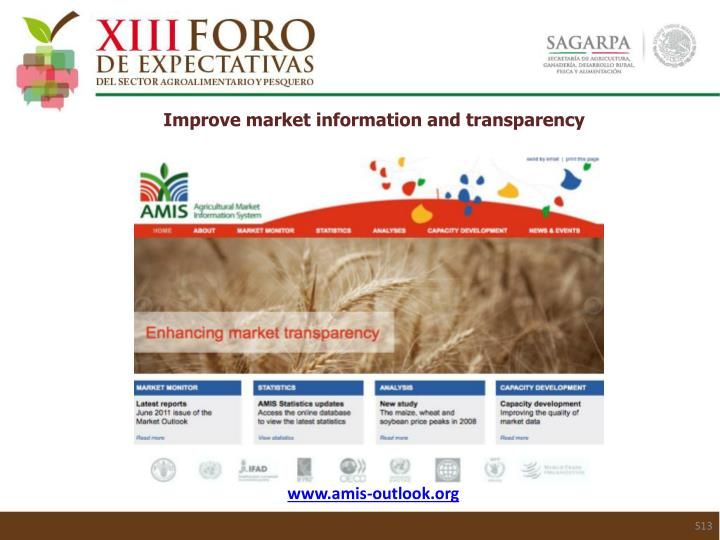 Improve market information and transparency