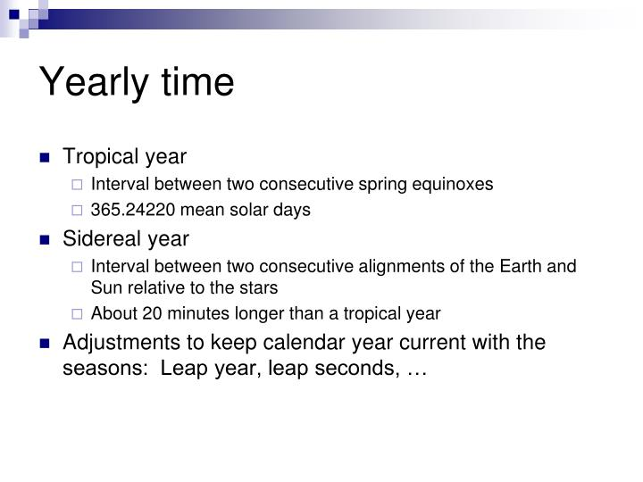 Yearly time