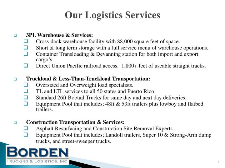 Our Logistics Services