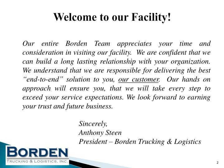 Welcome to our Facility!