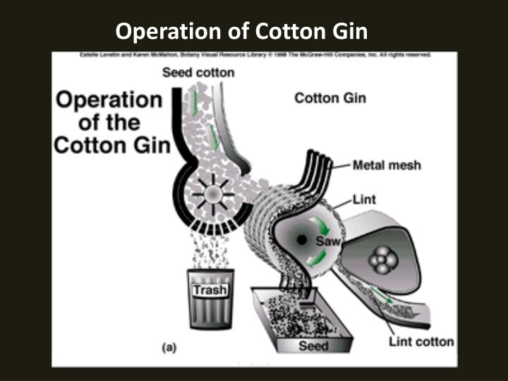 Operation of Cotton Gin