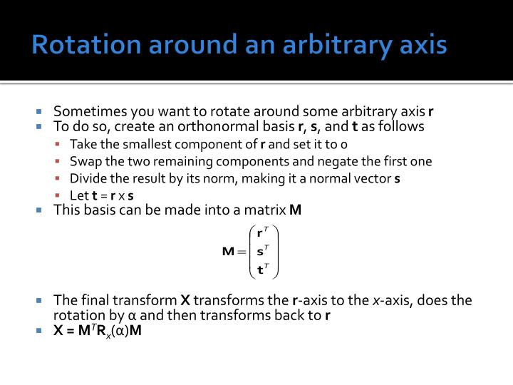 Rotation around an arbitrary axis