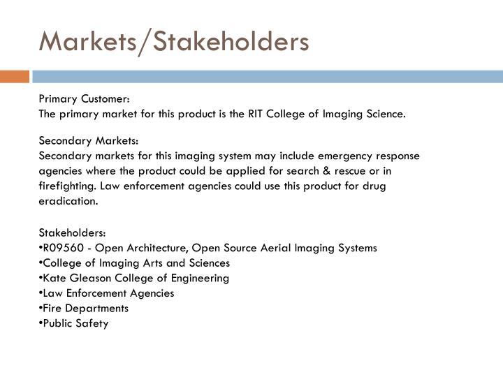 Markets/Stakeholders