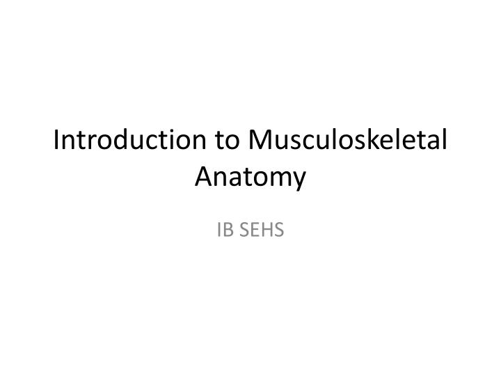 Introduction to musculoskeletal anatomy