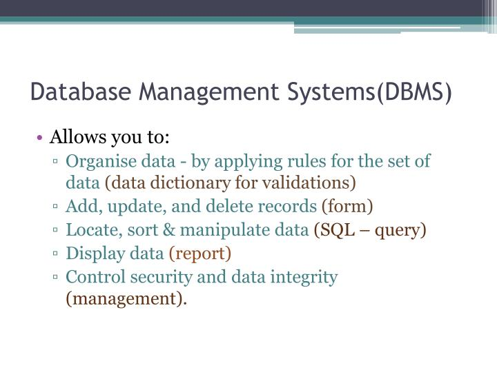 Database Management Systems(DBMS)