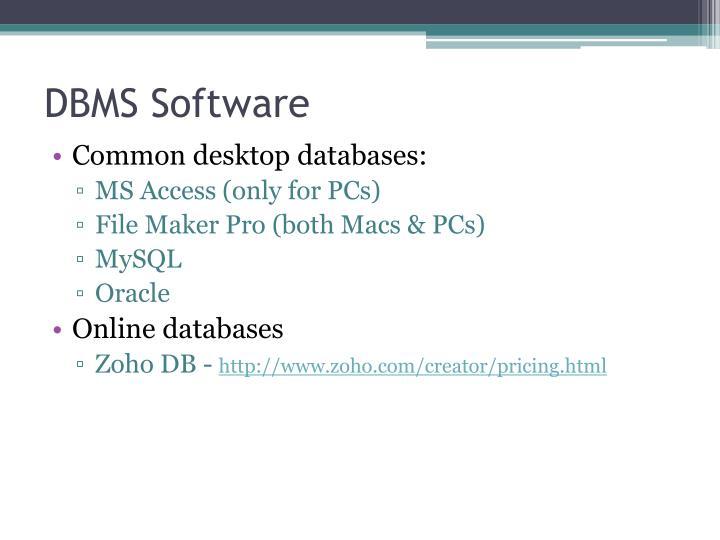 DBMS Software