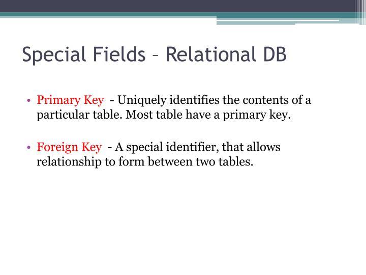 Special Fields – Relational DB