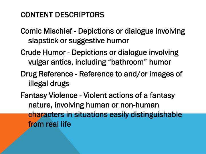 Content descriptors