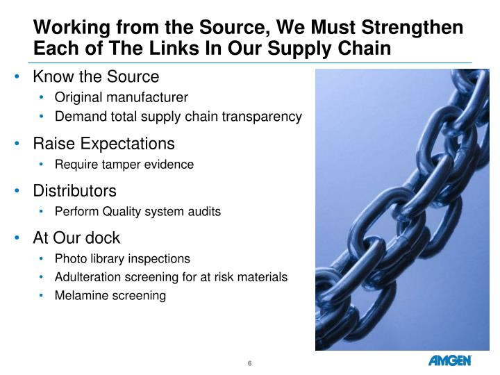 Working from the Source, We Must Strengthen Each of The Links In Our Supply Chain