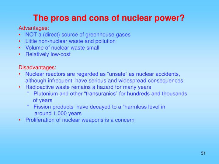 The pros and cons of nuclear power?