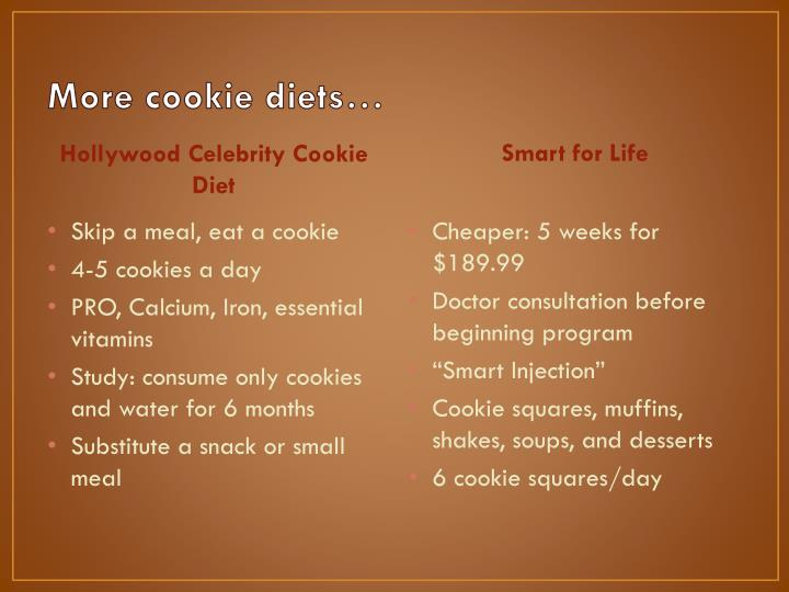 More cookie diets…