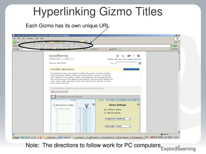 Hyperlinking gizmo titles