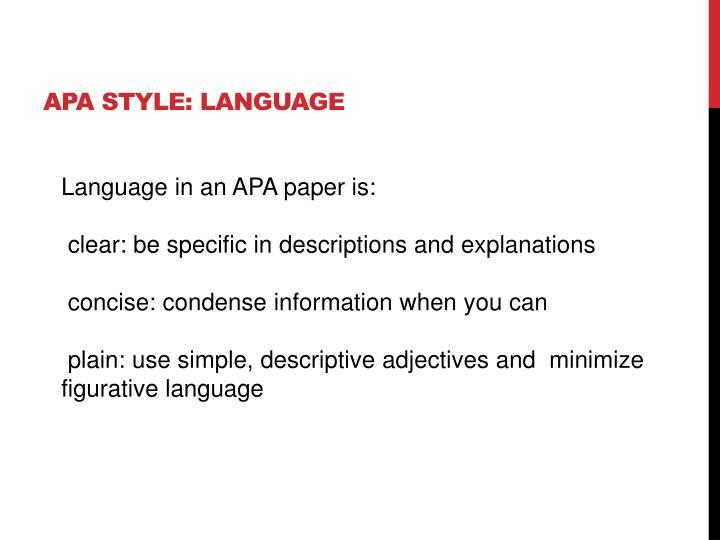 APA Style: Language