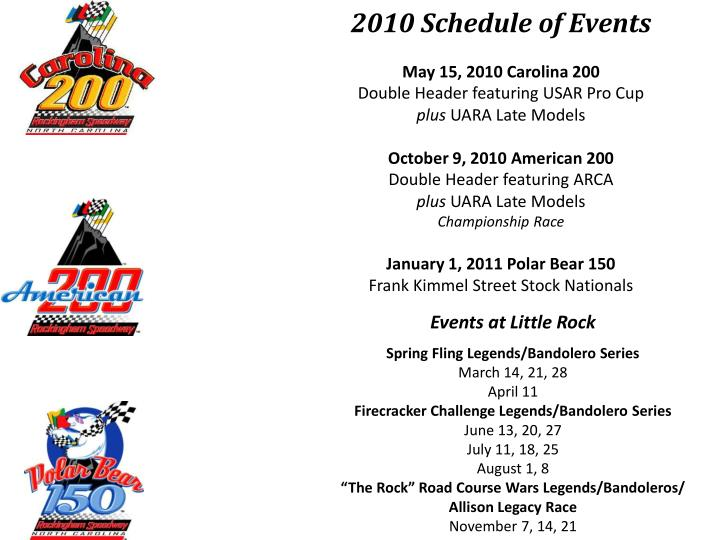 2010 Schedule of Events