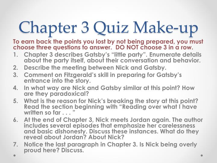Chapter 3 quiz make up