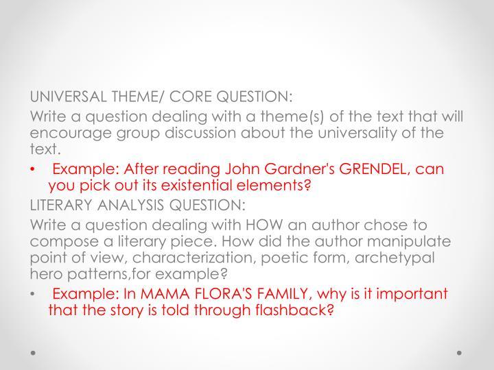 UNIVERSAL THEME/ CORE QUESTION: