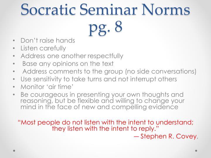 Socratic Seminar Norms