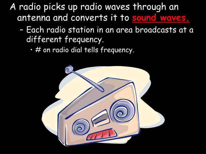 A radio picks up radio waves through an antenna and converts it to
