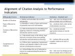 alignment of citation analysis to performance indicators