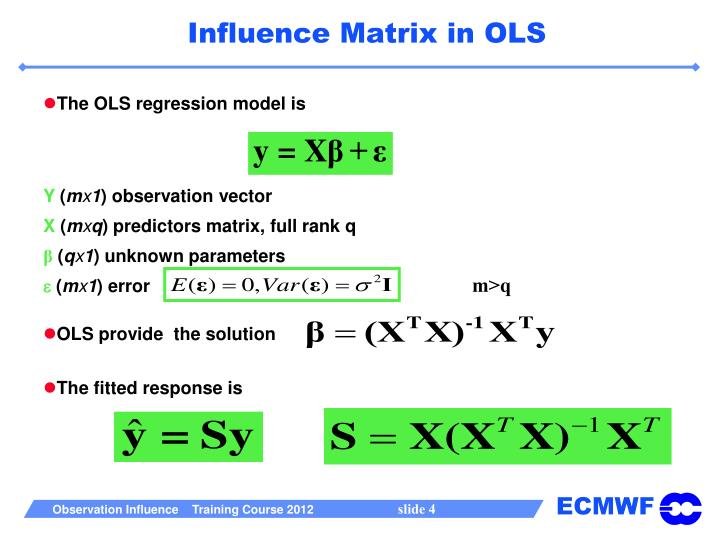 The OLS regression model is