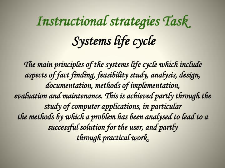 Instructional strategies Task