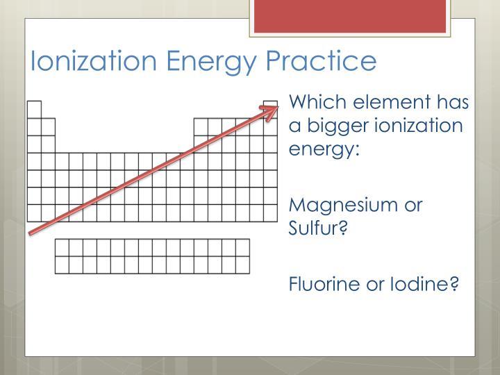 Ionization Energy Practice