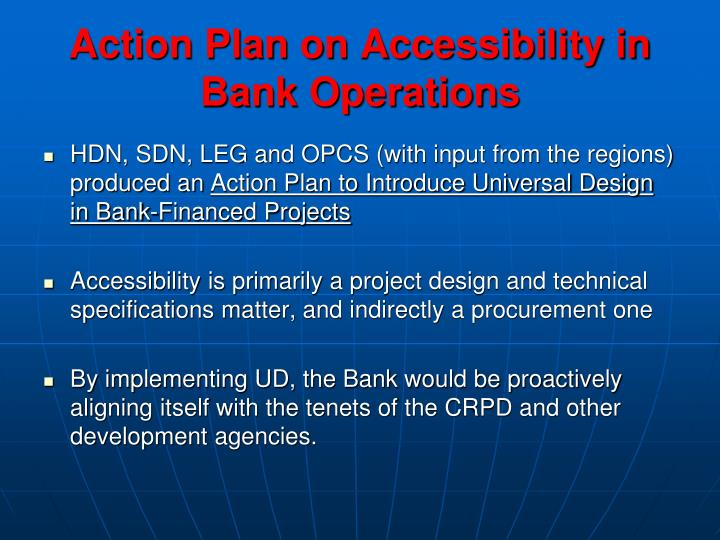 Action Plan on Accessibility in Bank Operations