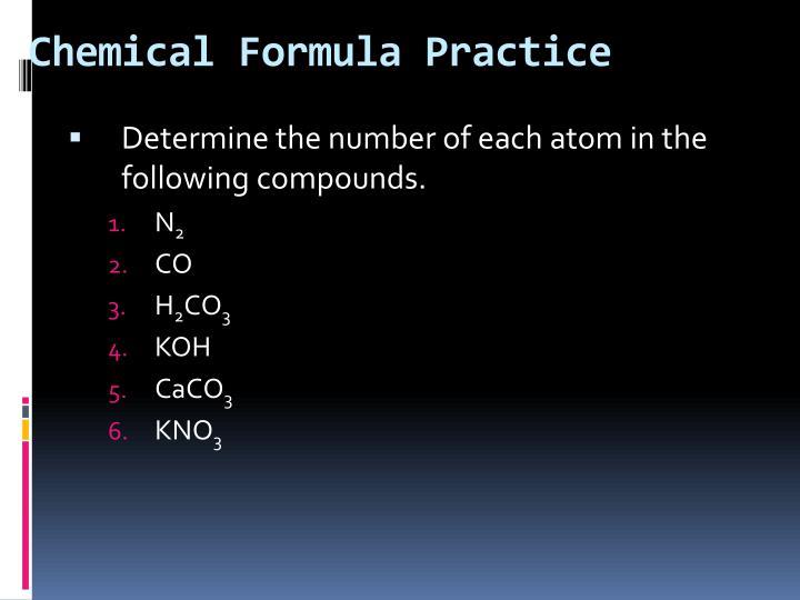 Chemical Formula Practice