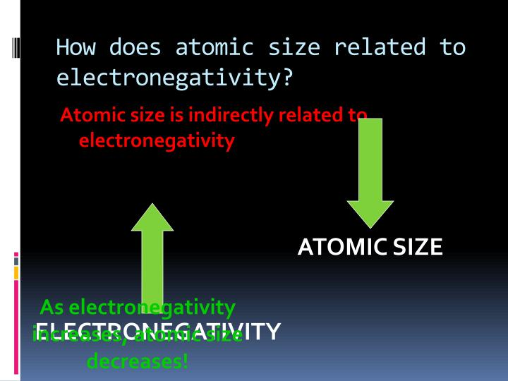How does atomic size related to electronegativity?