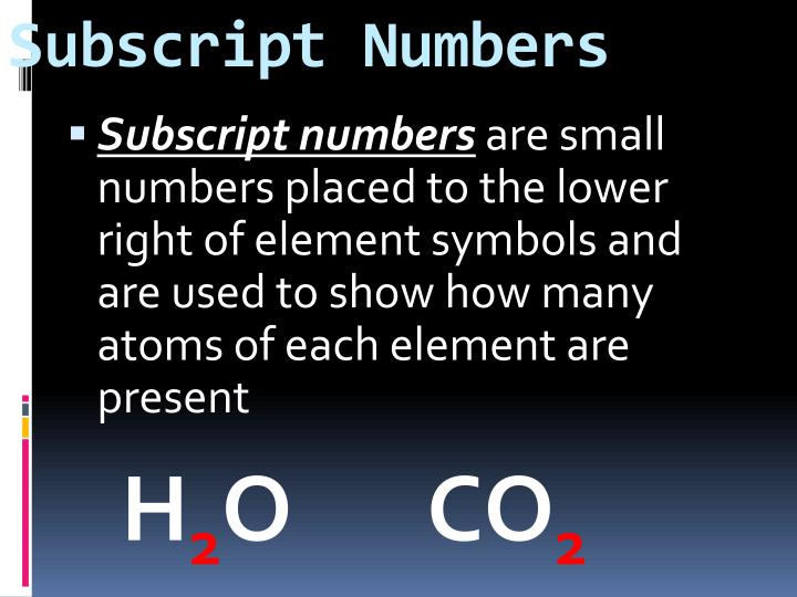 Subscript Numbers