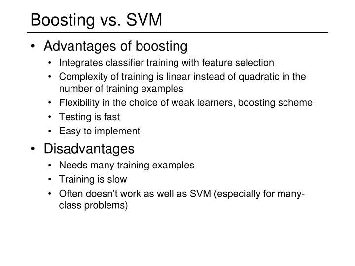 Boosting vs. SVM