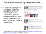 face verification using deep networks