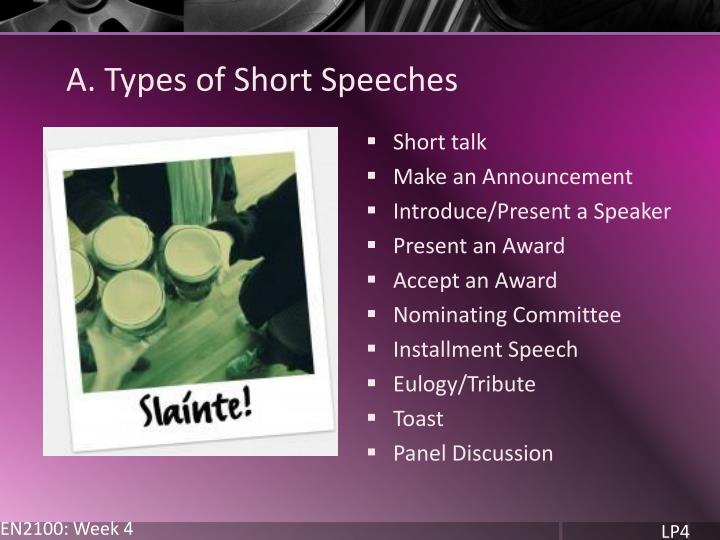 A. Types of Short Speeches