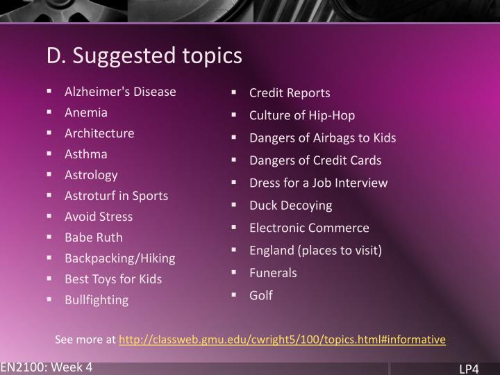 D. Suggested topics